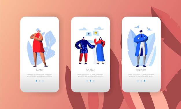 Social media network business profile character strona aplikacji mobilnej zestaw ekranów.
