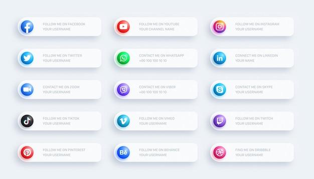 Social media network niższe trzecie świecące ikony baner 3d ustawiony na jasnym tle