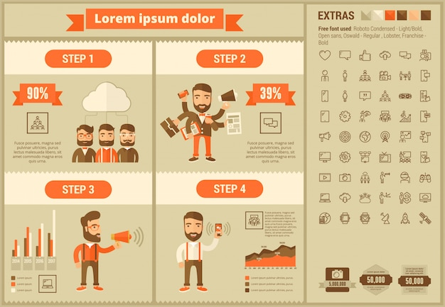 Social media płaska konstrukcja infographic szablon i ikony zestaw