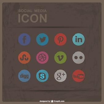 Social media płaskie przyciski do pobrania za darmo