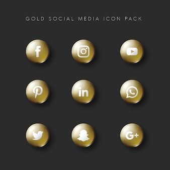 Social media populer icon 9 set gold version