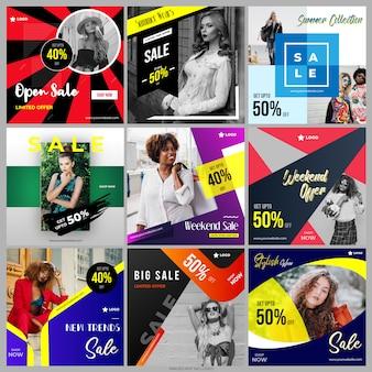 Social media post kolekcja pakiet szablonów