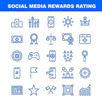 Social media rewards rating line icon pack