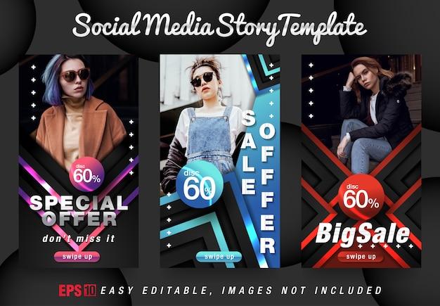 Social media story fashion w szablonie nowoczesnego projektu