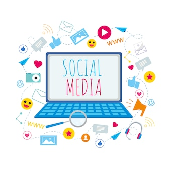 Social media symbol na ekranie notebooka