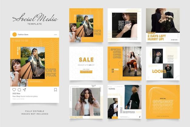 Social media szablon baner blog moda promocja sprzedaży. w pełni edytowalny instagram i facebook kwadratowa ramka post puzzle organiczny plakat sprzedaży. świeże żółte tło kształtu elementu