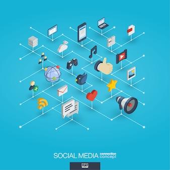 Social media zintegrowane ikony 3d web. koncepcja interakcji izometrycznej sieci cyfrowej.