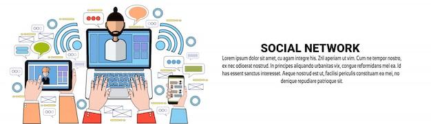Social network communication web banner szablon biznes media networking koncepcja połączenia