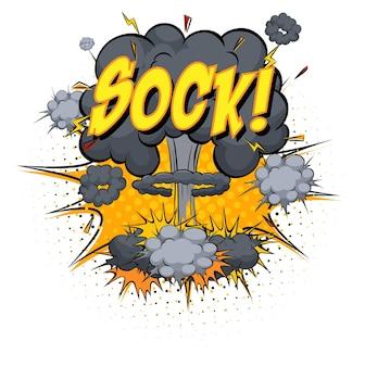 Sock tekst na komiksowym wybuchu chmury na białym tle