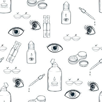 Soczewki kontaktowe opieki zdrowotnej ilustracji wektorowych okulistyka kreskówka ikony zestaw ilustracji wektorowych