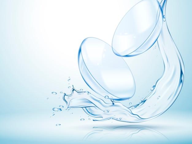 Soczewki kontaktowe z czystą płynącą wodą