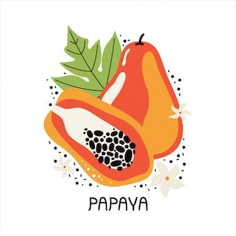 Soczysta pomarańczowa papaja z liśćmi i kwiatami. ręcznie rysowane plasterek owoców tropikalnych z miąższu i nasion. płaska ilustracja na białym tle. odręczny tekst papaja. doodle owoce dżungli