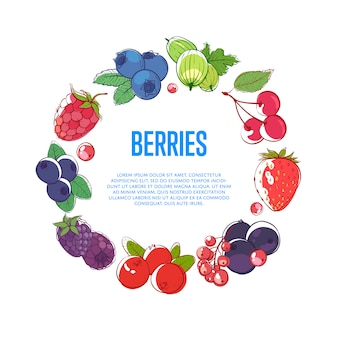 Soczyste i słodkie jagody okrągłe ramki