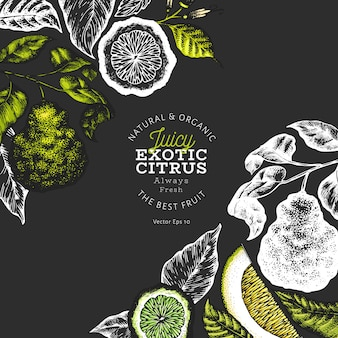 Soczysty egzotyczny owoc cytrusowy plakat