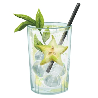 Soczysty ilustracyjny koktajl mojito ze słomką miętową lodem świeży pyszny alkoholowy lub bezalkoholowy z gwiazdą sprite i gruszką