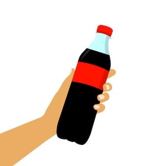 Soda w ręku. słodka soda płaski styl.