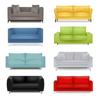 Sofa duży zestaw izolowane białe tło z siatki gradientu.