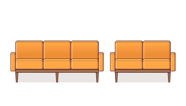 Sofa, fotel, ikona kanapy, profil ilustracja.