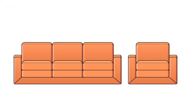 Sofa, fotel, ikona kanapy. zarys ilustracji.