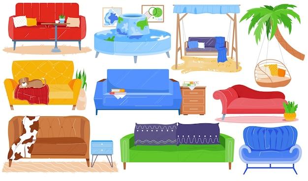 Sofa fotel ławka, meble zestaw wektor wnętrza nowoczesnego pokoju. kolekcja wyposażenia domu kreskówek do mieszkania w salonie