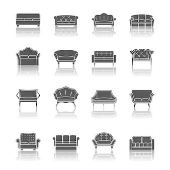 Sofa kanapy nowoczesne meble projektowanie wnętrz ikony zestaw czarny na białym tle ilustracji wektorowych