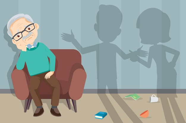 Sofa nieszczęśliwa para rodzinna kłóci się na tle