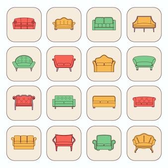 Sofa wygodne kanapy nowoczesne i zabytkowe meble ikony zestaw ilustracji wektorowych na białym tle