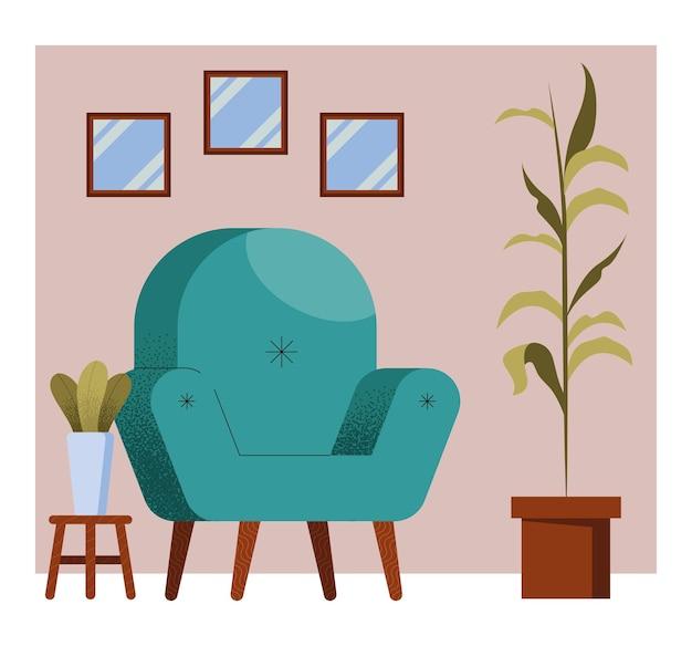 Sofa zielona w scenie w salonie