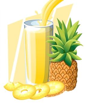 Sok ananasowy. napój ze świeżych owoców w szkle. koktajle ananasowe. sok płynie i rozpryskuje się w pełnej szklance. ilustracja na białym tle. strona internetowa i aplikacja mobilna