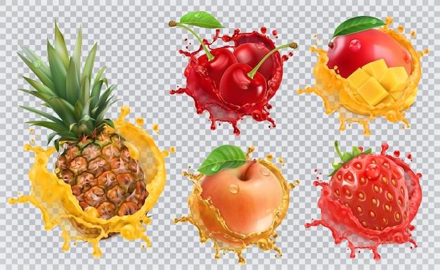 Sok ananasowy, truskawkowy, jabłkowy, wiśniowy, mango. świeże owoce i plamy, zestaw ikon 3d wektor