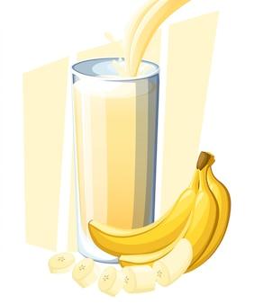 Sok bananowy. napój ze świeżych owoców w szkle. koktajle bananowe. sok płynie i rozpryskuje się w pełnej szklance. ilustracja na białym tle. strona internetowa i aplikacja mobilna