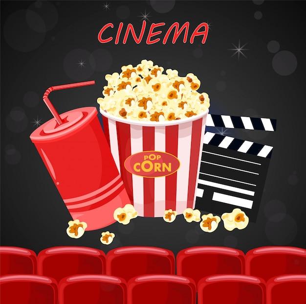 Sok i popcorn dla filmu nocy plakat ilustracja