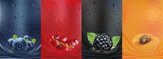 Sok owocowy, borówka, morela, jagoda czerwonej porzeczki, jeżyna z rozpryskami płynu i kropli soku.