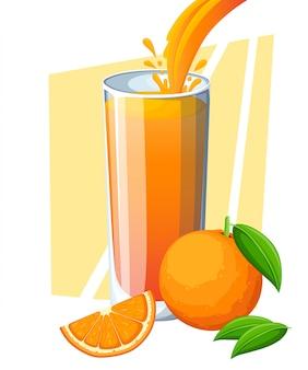 Sok pomarańczowy. napój ze świeżych owoców w szkle. pomarańczowe koktajle. sok płynie i rozpryskuje się w pełnej szklance. ilustracja na białym tle. strona internetowa i aplikacja mobilna