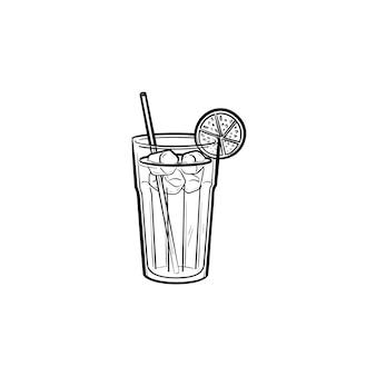 Sok pomarańczowy z ikoną doodle wyciągnąć rękę słomy konspektu. bezalkoholowy napój pomarańczowy szkic wektor ilustracja do druku, sieci web, mobile i infografiki na białym tle.