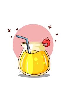 Sok pomarańczowy z ilustracją kreskówki wiśni