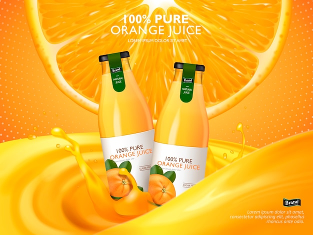Sok pomarańczowy zawarty w szklanych butelkach