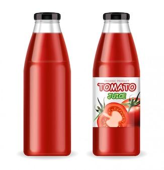 Sok pomidorowy, butelka realistyczny, produkt ekologiczny, butelka na białym tle, świeże pomidory, wegetariańskie jedzenie, ilustracja