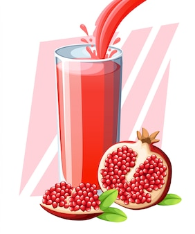 Sok z granata. napój ze świeżych owoców w szkle. koktajle z granatów. sok płynie i rozpryskuje się w pełnej szklance. ilustracja na białym tle. strona internetowa i aplikacja mobilna