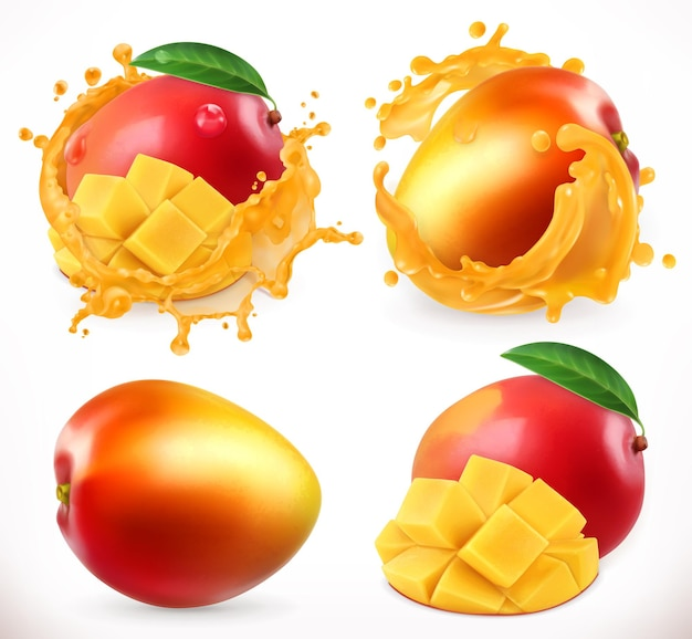 Sok Z Mango. świeże Owoce, Realistyczna Ikona Premium Wektorów