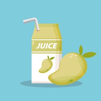 Sok z mango z ikoną opakowania pudełka wektor