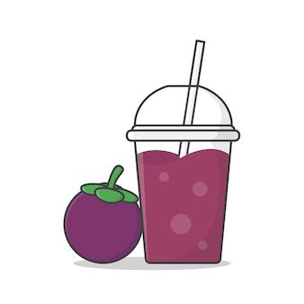 Sok z mangostanu lub koktajl mleczny w plastikowym kubku na wynos ikona ilustracja.