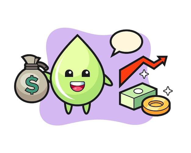 Sok z melona kropla ilustracja kreskówka trzymając worek pieniędzy, ładny styl na koszulkę, naklejkę, element logo