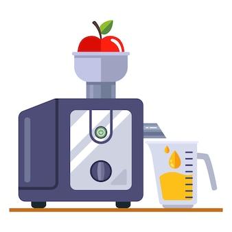 Sokowirówka do urządzeń kuchennych. świeży sok jabłkowy. ilustracja wektorowa płaskie.