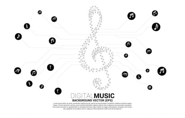 Sol muzyczna nuta kluczowa z kropki połącz styl linii obwodu drukowanego. tło koncepcji motywu piosenki i koncertu.