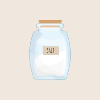 Sól przechowywana w zamkniętym słoju na białym tle. kryształowa przyprawa, przyprawa do żywności, mineralny składnik do gotowania w przezroczystym pojemniku kuchennym. ilustracja kolorowy kreskówka.