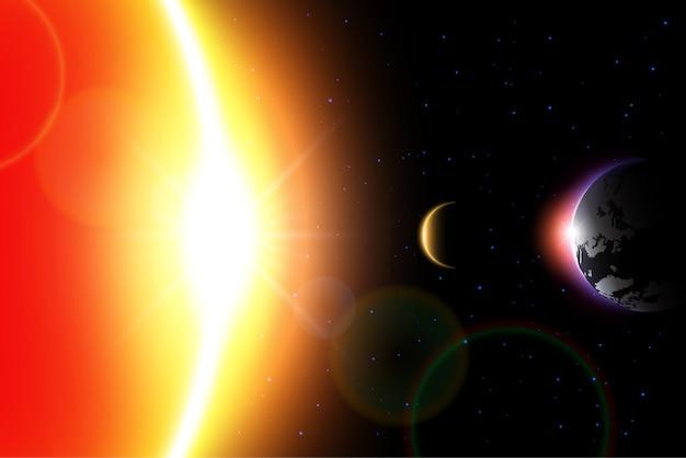 Solar eclipse moon porusza się po świecie i ukrywa światło słoneczne.