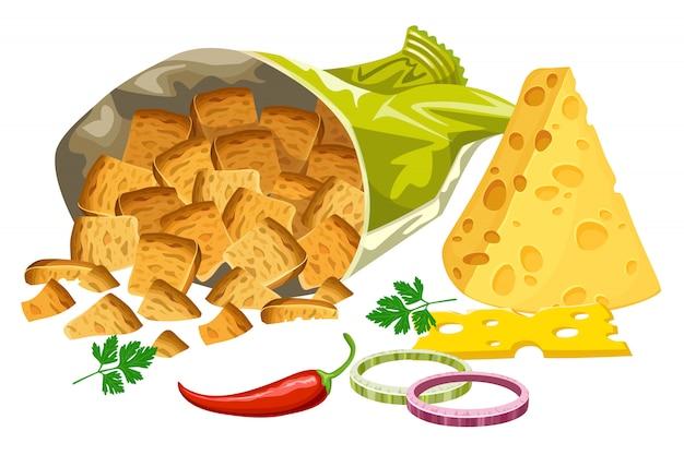 Solone grzanki z serem, cebulą i papryką.