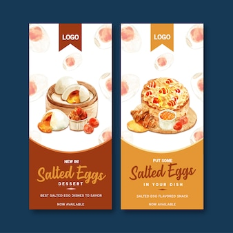 Solone jajko projekt ulotki z gotowaną na parze bułką, rogalik, ciasto akwarela ilustracja.