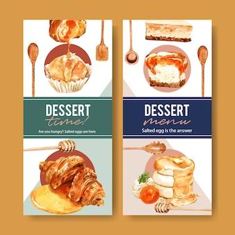 Solony jajeczny ulotka projekt z babeczką, croissant akwareli ilustracja.